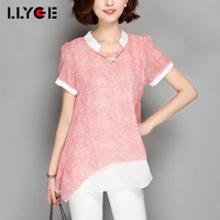 LLYGE Women O Neck Chiffon Plus Size Blouses 2018 Summer Short Sleeve Casual Tops Loose Shoulder