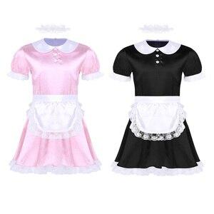 Image 2 - Mens Sissy ชุดชั้นในบทบาทเล่นเครื่องแต่งกายสาวแม่บ้านชุดคอสเพลย์เซ็กซี่ Clubwear ตุ๊กตาคอ Babydoll ชุด Headband และผ้ากันเปื้อน