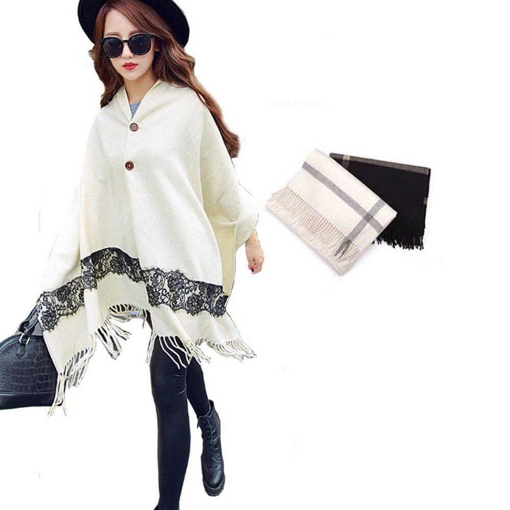 Winter Lace Scarf Cashmere Women Scarves Poncho Cloak Fashion Shawl Stoles Woolen Long Tassel Wraps Scarf Cape Pashmina for Lady