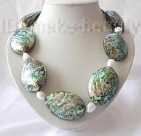 stunning big 55X35mm baroque green sea shell white pearl necklace