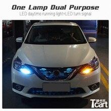 Tcart автомобиля светодиодный DRL Вождения Габаритные огни поворота PY21W 1156 для Nissan sentra b17 2012 2013 2018 аксессуары