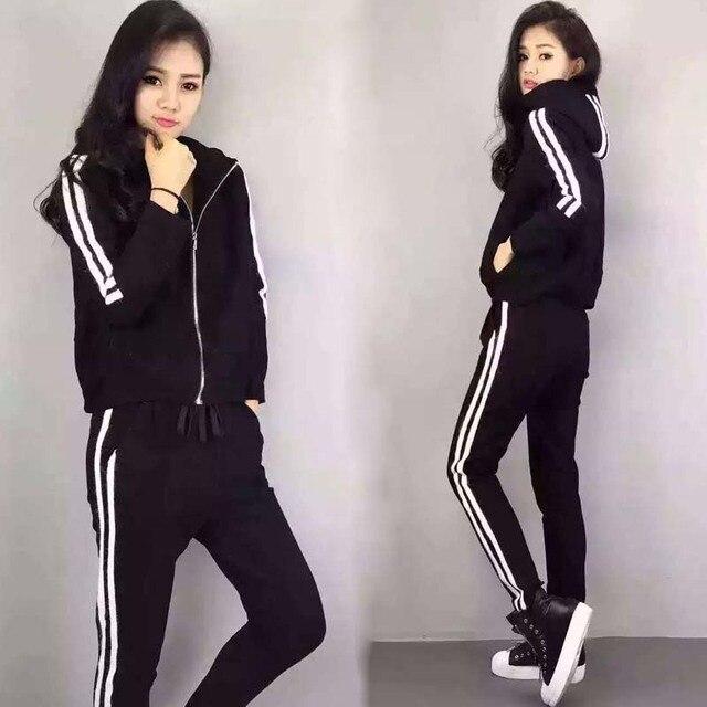 2XL plus big size suit women set clothing 2017 spring autumn winter korean new hooded sweat suits female A2336