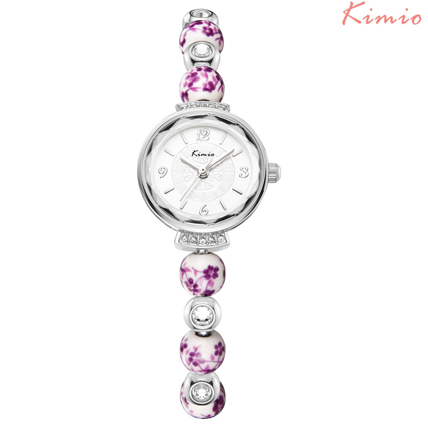 KIMIO Women Watches Chinese Ceramic Watch Auspicious Pattern Bracelets Female Dress Relogio Feminino TOP BRAND kimio k482s