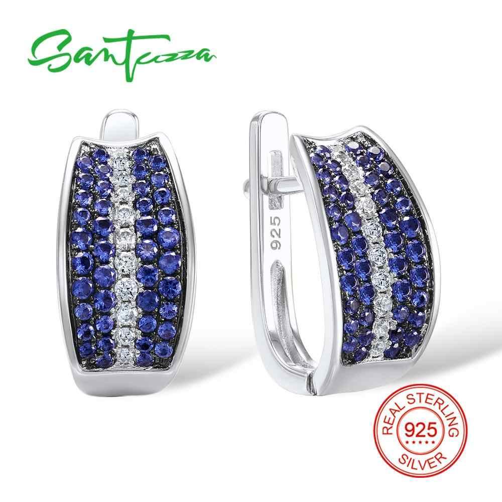 822f69e9e Santuzza Silver Stud Earrings for Women Blue Nano Cubic Zirconia Stones  Ladies Pure 925 Sterling Silver