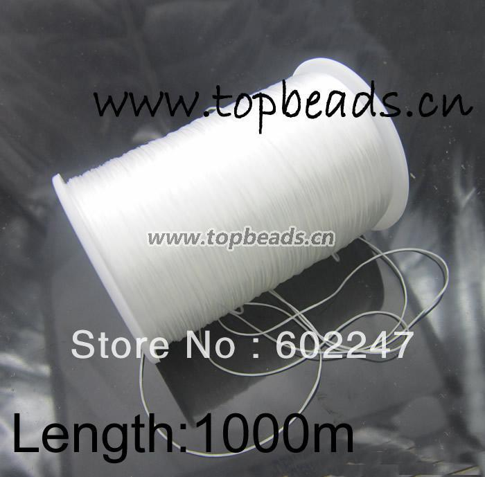Free shipping!White Crystal Beading Elastic Cord Jewelry Findings 1000M