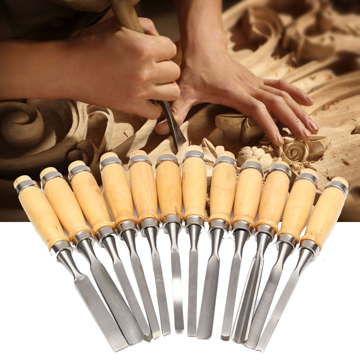 12pcs/set Wood Carving Hand Chisel Tool Set Wood Carving Chisels Knife for Basic Woodcut Polishing Carving Chisels Tools цены онлайн