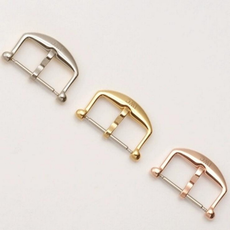 18mm High Quality 316L Stainless Steel Metal Watch Band Strap Buckle Rose Gold Silver Clasp For IWC Pilot Watch Replacement