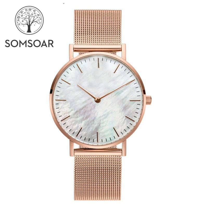 Somsoar Jewelry White Seashell Women Watches With Stainless Steel Mesh Bracelet Match Mesh Charm Bracelet & Bangle