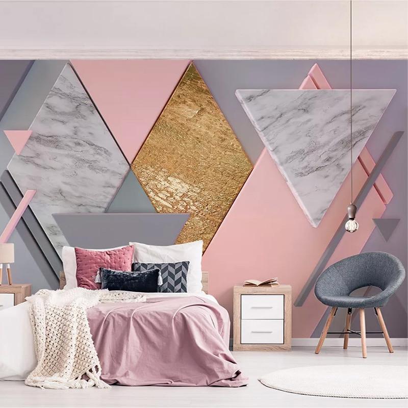 Custom Photo Wallpaper 3D Nordic Style Pink Rhombus Geometry Murals Living Room Bedroom Wall Painting Papel De Parede 3D Fresco
