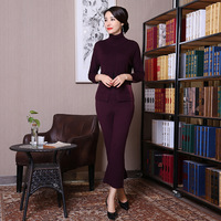 New Purple Traditional Chinese Women Clothing Lady Knitting Woolen Shirt Pant Set Thick Warm High Collar