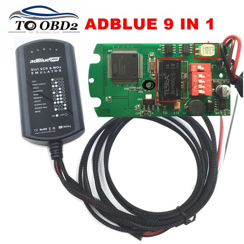 Prix pour 2017 Nouveautés Adblue 9 EN 1 Pas Besoin Logiciel Plug & Utilisation Adblue Émulateur SCR et NOX Fonctionne 9 Camions Ad Bleu Soutient EURO 4 et 5