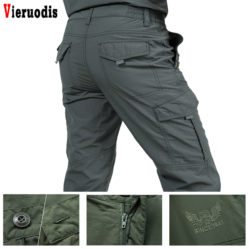 Male Lightweight Trousers Men Trousers Summer Quick Dry Casual Pants Army Waterproof Trousers Men's Tactical Cargo Pants
