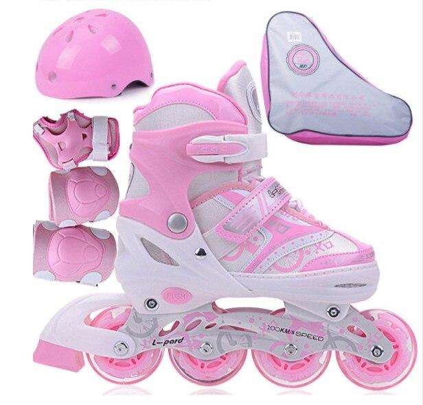 Haute qualité! 8 roues complet clignotant Enfants Rouleaux Adulte Chaussures De Patinage Chaussures De Patins À Roulettes Réglable Slalom Patins À Roues Alignées Chaussures