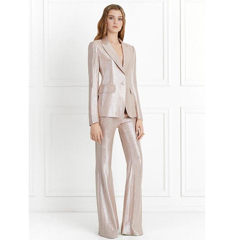 Shiny Champagne Fashion Version Pants Suits Women Pants Suits High Street Model Suits Suits Custom Made 2 Piece Jacket+Pants