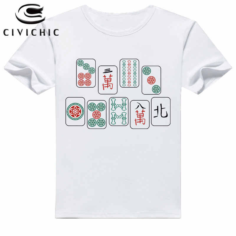 Camiseta de manga corta CIVI chic de verano para hombre, camiseta china con estampado de moh-jong, camiseta de estilo Oriental de Mahjong, camisetas de talla grande WST116
