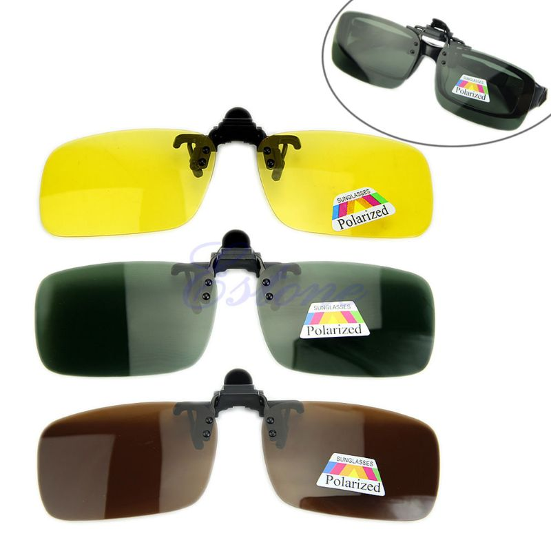 Yeni gündüz gece görüş polarize sürüş Clip-on Flip-up Lens güneş gözlükleri sürüş gözlükleri S/M/ L