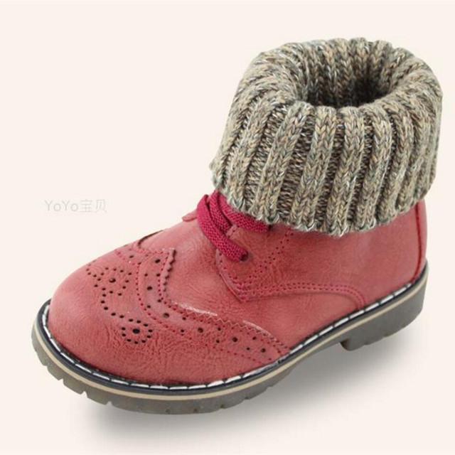 2016 Zapatos de Algodón de Felpa Niño de Los Cabritos Del Invierno del Bebé Aplastamiento Británico Caliente Muchachas de Los Muchachos de Los Cargadores de Cuero Boost Chicos KX703