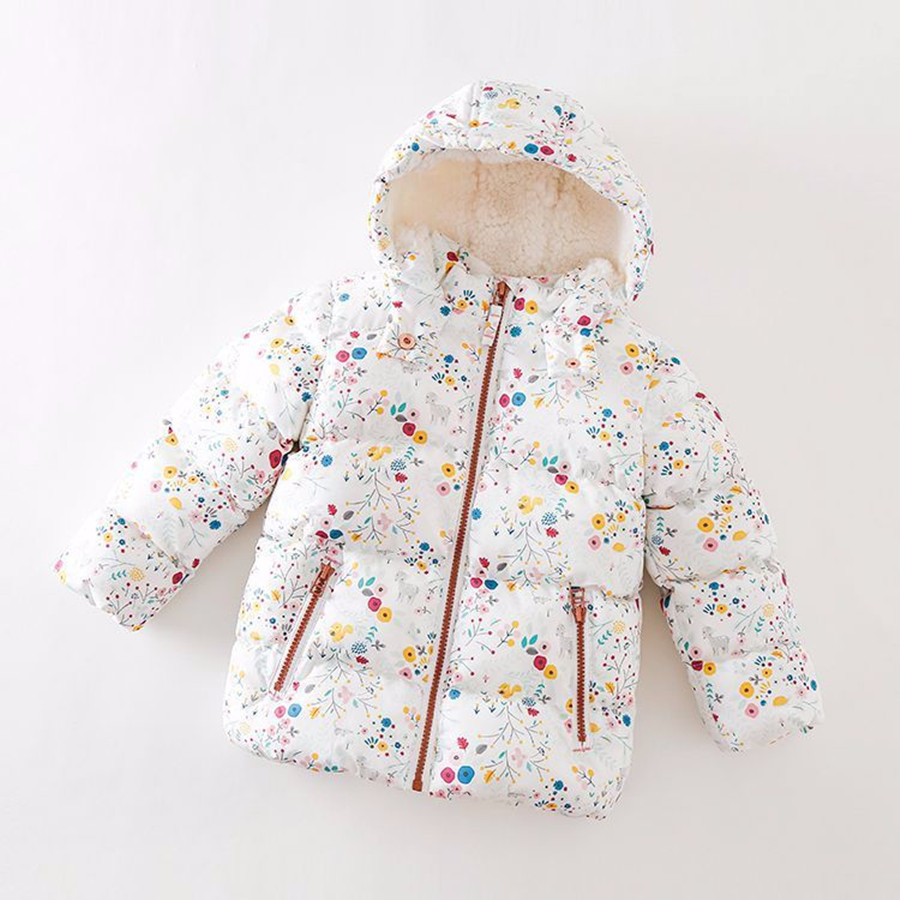 Girls Parka Beautiful Print Flower Warm Hooded Jacket Children 2017 Pretty Winter Kids Coat Cute Autumn Fleece Jacket For Girls
