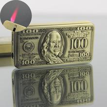Oryginalność 100 dolarów Drop-dół typu zapalniczki osłona przed wiatrem zapalniczki inflacji zapalniczki tanie tanio Metal Mirror butane