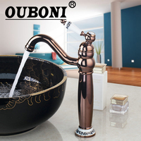 OUBONI Rose Roman Golden Swivel 360 Deck Mounted Single Handle Kitchen Faucet Torneira Cozinha Basin Sink