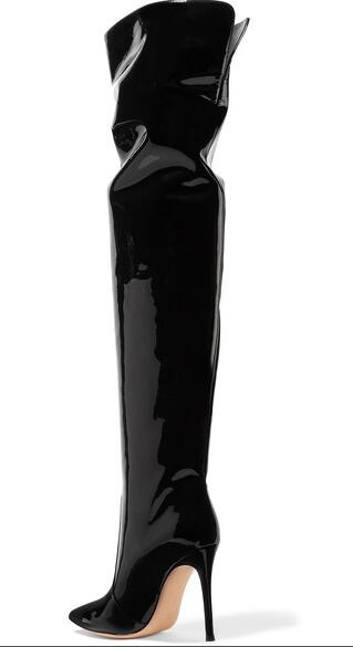 Cuir genou Over Vente Talons Bout Robe Slip Femme Verni Aiguille sur Long En Bottes Noir the Haute Sestito Parti Chaude Pointu wI1pvxqw8
