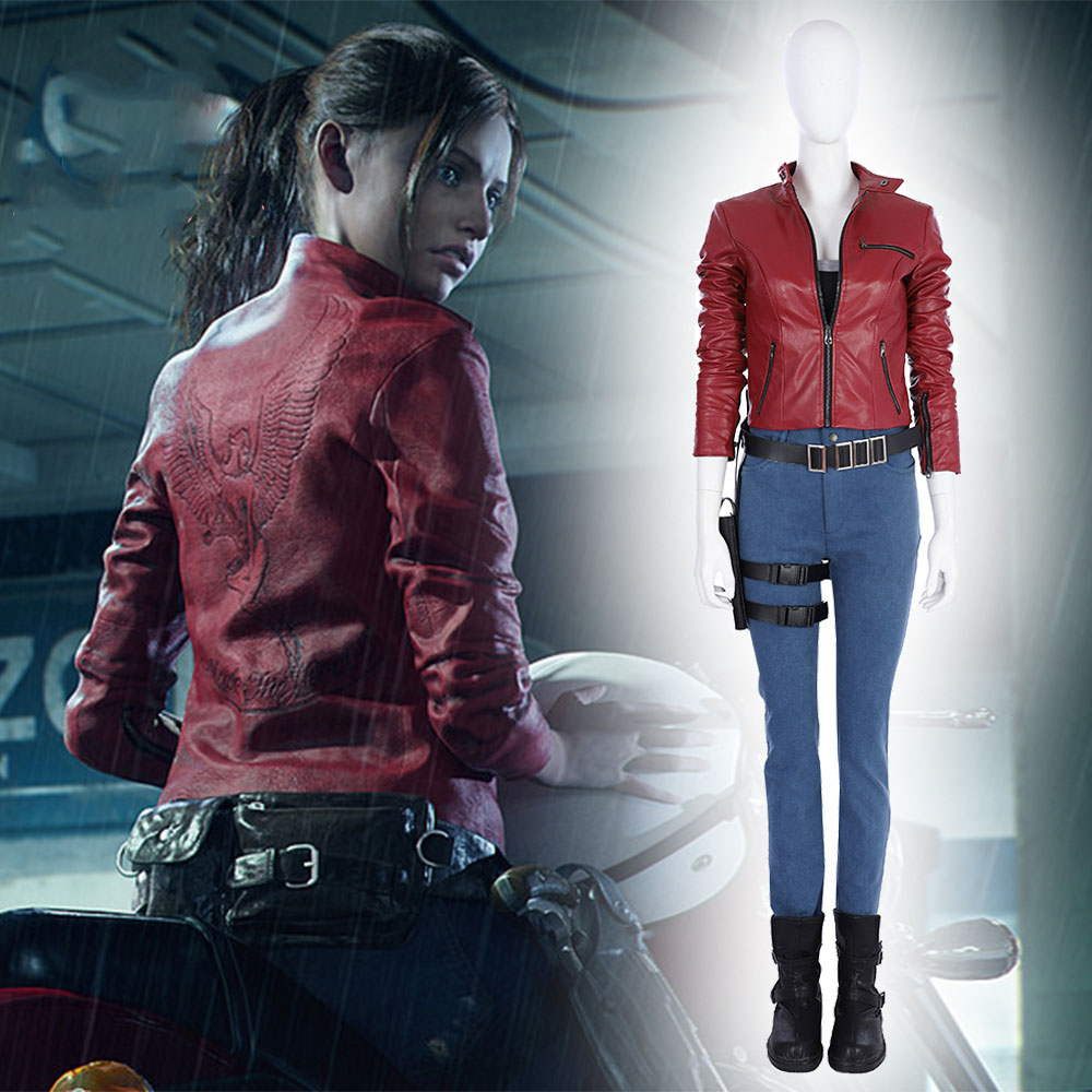 Halloween Resident Evil 2 Cosplay Claire Redfleld Cosplay Costume Leather Coat and Pants Set High Quality Custom Made Size