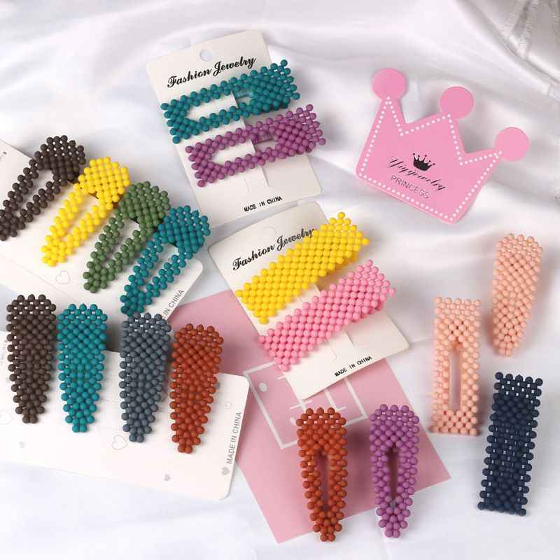 Korea Fashion Fluorescent Color Frosted Beads BB Clip Simple Geometric Waterdrop Beading Beautiful Hairpins Hair Accessories