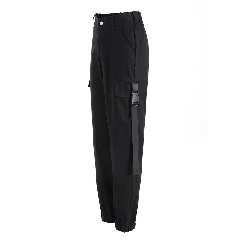 ADISPUTENT Streetwear Cargo Pants Women Casual Joggers Black High Waist Loose Female Trousers Korean Style Ladies Pants Capri 22