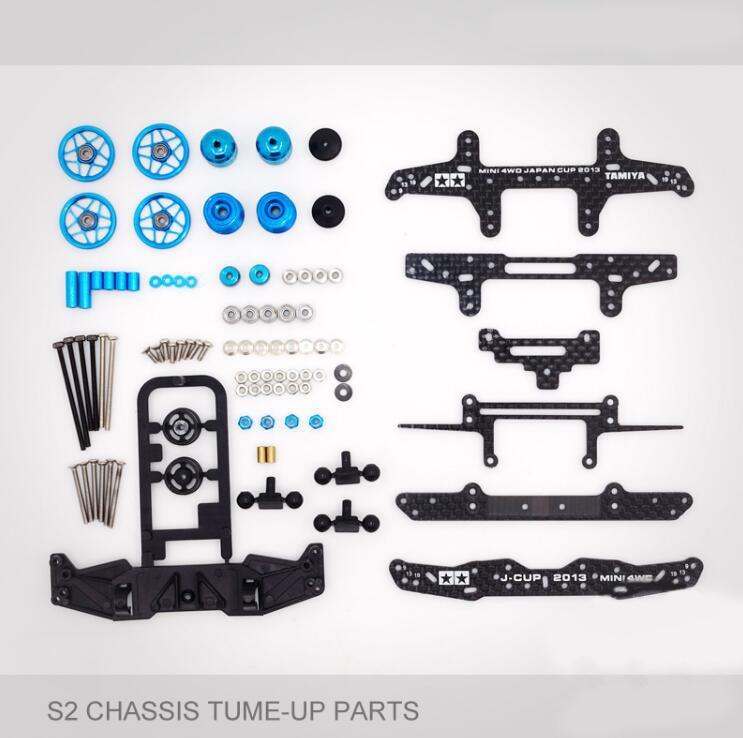 1 Set S2 Chassis Tume-up Parts Carbon Fiber Parts Set For Tamiya Mini 4WD Car Model Red/Blue/Silver/Black цены онлайн
