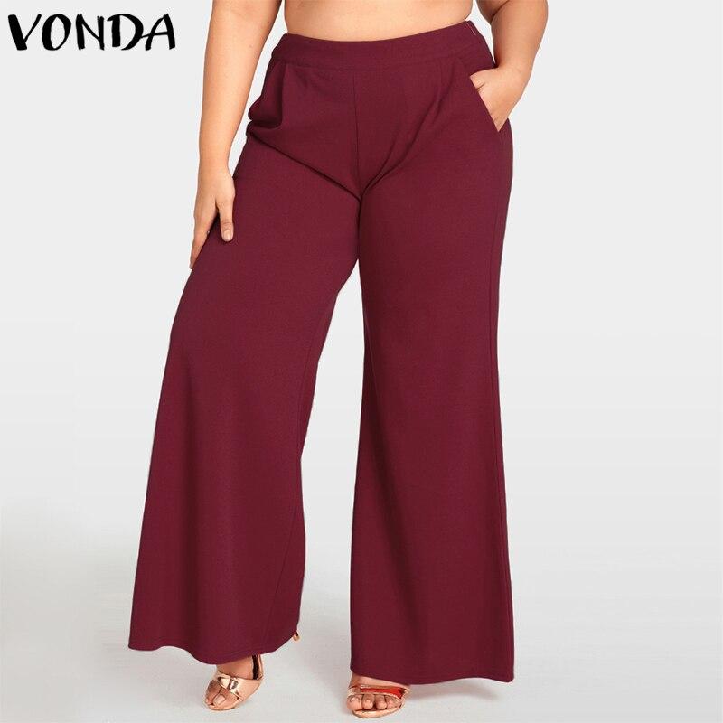 VONDA Women Wide Leg Pants 2019 Autumn Female Casual Loose High Waist Solid Pants Plus Size Elegant Trousers Baggy Bottoms 5XL