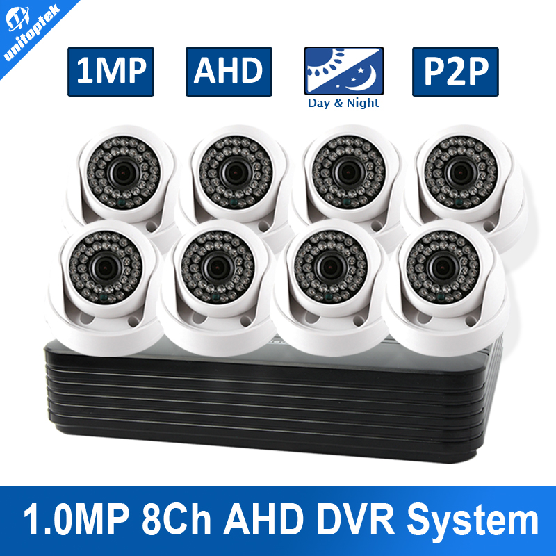 UNITOPTEK 8CH AHD CCTV Camera System Home Security HD 720P 8CH DVR 8Pcs 1.0MP 8 Channel Video Surveillance CCTV System Kit 1400tvl ahd camera 8ch 720p video surveillance security camera system 8 channel cctv dvr kit system p2p wifi
