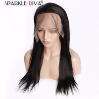 Sparkle Diva Mongolian 100% Straight Remy Human Hair Full Lace Wig Swiss Lace 130% Density Cuticle Aligned Natural Color Hair