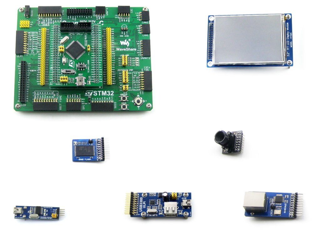 Open407V-C Package A # STM32 ARM Cortex-M4 Development Board STM32F407VET6 STM32F407 + 6 Accessory Modules Kits black plastic ads iar stm32 jtag interface jlink v8 debugger arm arm7 emulator cortex m4 m0