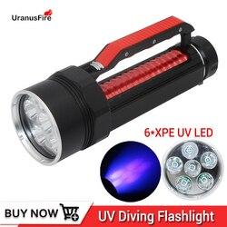 Uranusfire UV Licht 6 XPE LED Hohe qualität UV Tauchen Flashlgiht 395nm Led UV licht taschenlampe lampe wasserdicht Uv scuba lampe