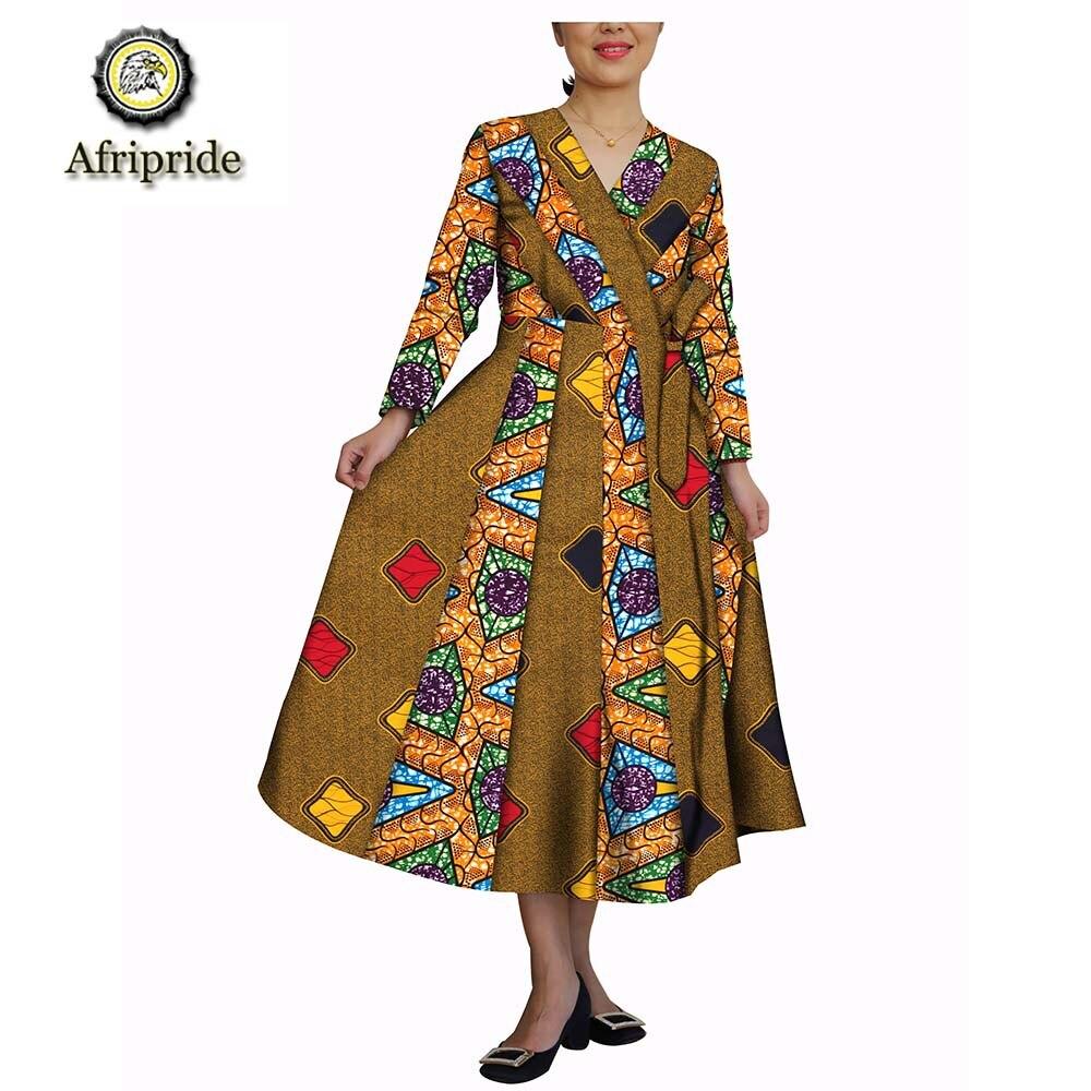 2019 robes africaines pour femmes AFRIPRIDE batik dashiki col en v pur coton bazin riche ankara imprimer privé personnalisé S1825054