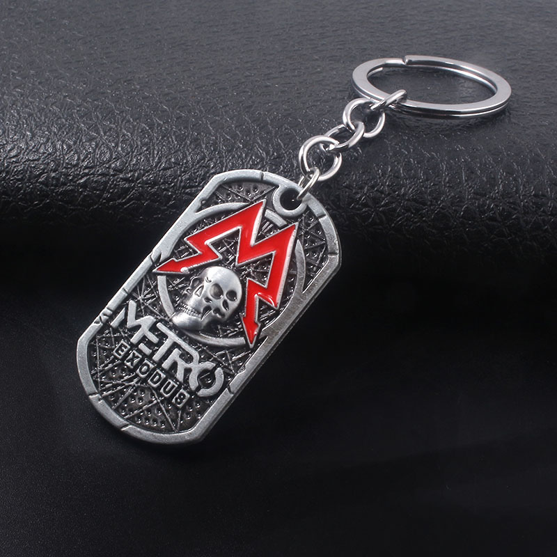 Game Metro Exodus 2033 Metal Keychains Skull Dog Tag Logo Keyring For Keys Men Car Women Bag Accessories in Key Chains from Jewelry Accessories