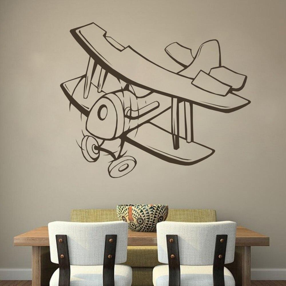 Prop Biplane Airplane bedroom Vinyl Wall Decal Livingroom Wall ...
