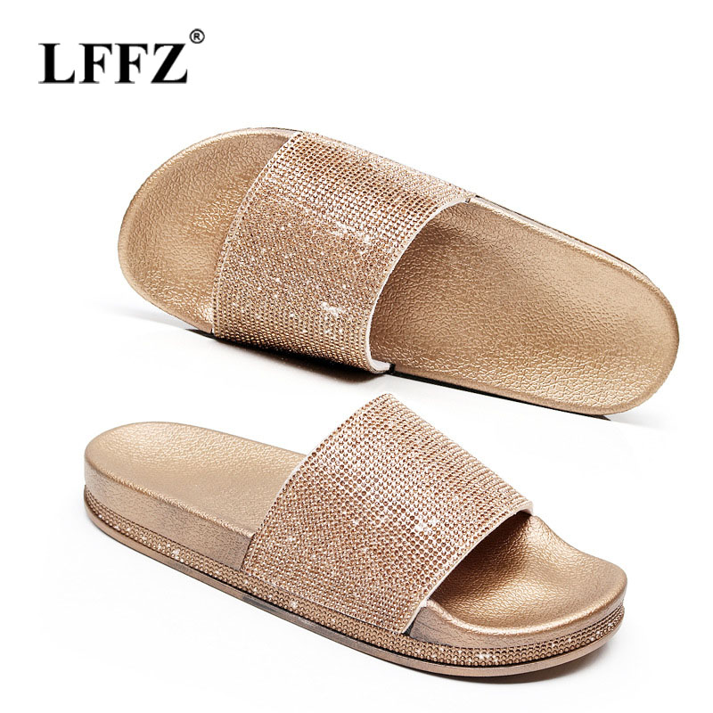 Lzzf Summer Roma Flat Shoes Woman Slippers Gold Female Crystal Beach Bling Women Shoes Platform Ladies Flip Flops Slides Sandals women slippers summer bling beach shoes sequined rivet fashion slippers female light flat platform non slip ladies shoes ald931