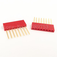 50pcs Red 2.54mm 8P Stackable Long Legs Female Header For Arduino Shield