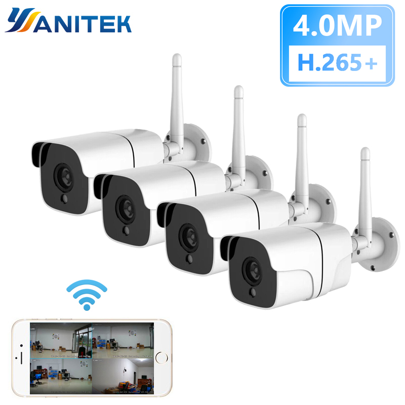 4MP Kit Wireless Security Camera System IP Camera Wifi SD Card Outdoor 4CH Audio CCTV System Video Surveillance Kit Camara-in Surveillance System from Security & Protection