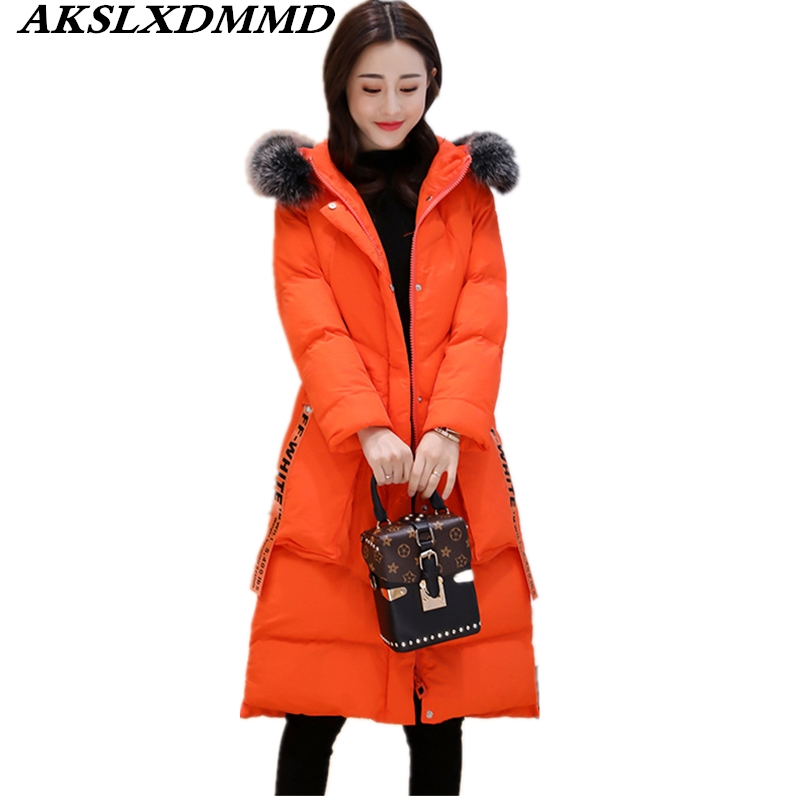 2019 Women Winter Cotton Coat Hooded Fur Collar   Parka   Fashion Solid Thick Slim Mid-Long Coat Outerwear Warm Winter Jacket CW014
