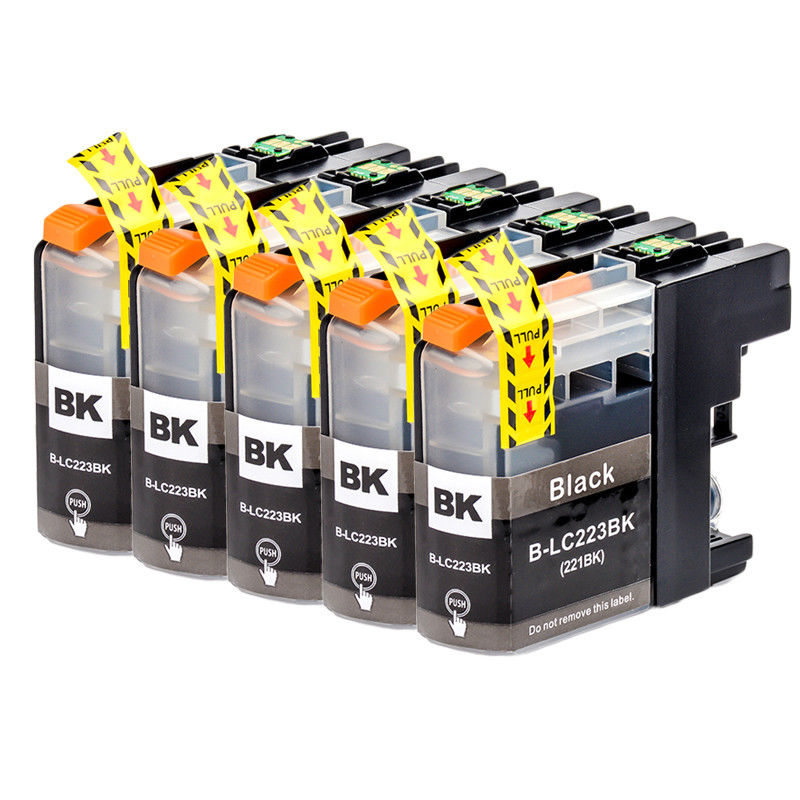 5 Black Inks set LC223 Compatible for Brother MFC J480DW J4420DW J5320DW DCP J4120DW J562DW Printer