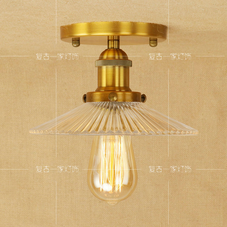 Bronze LED ceiling light American Vintage dining room balcony Glass Iron restaurant bedroom living room ceiling lamp RCL0015|Ceiling Lights| |  - title=