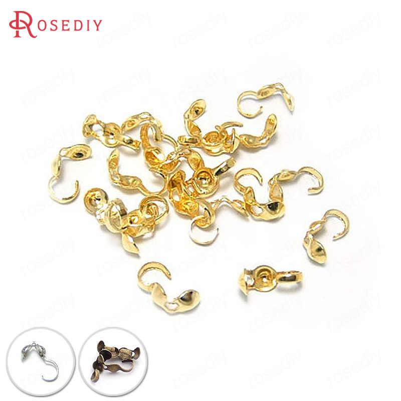 100 piezas de oro Color hierro engarzado extremo tapas cierres alambre y rosca cubiertas cierres conectar cierres Diy accesorios de joyería