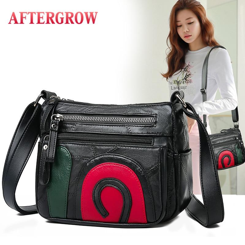 Black Sheep Skin Women Messenger Bag Female Genuine Leather Crossbody Shoulder Bags O Patchwork Ladies Handbags Torebki Damskie
