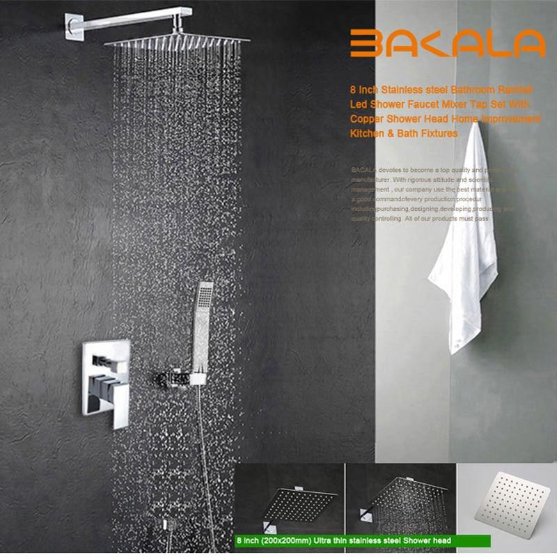 BAKALA Luxury 8-10-12-16 Inch Stainless Steel Bathroom Rain  Shower Faucets Head Shower Set With Hand Shower Shower Kit