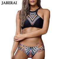 JABERAI 2018 High Neck Swimsuit Bandage Pad Swimwear Women Printed Brazilian Bikini Sexy Bathing Suit Beachwear