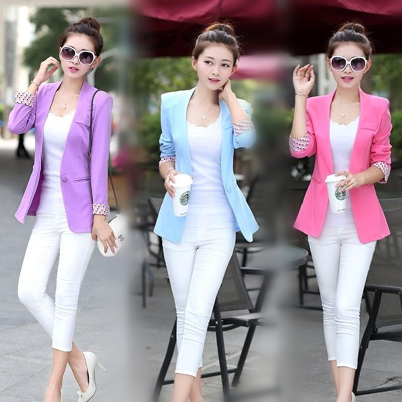 2015 New Women's Rose Blazer Summer Office Wear White Suit ...