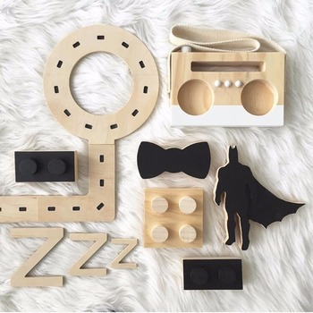 D Cute Wooden Tape Radio recorder wall hanging Toys For kids Room Decor Furnishing Articles Child Birthday Gifts Nordic Style