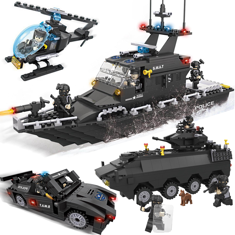 KAZI Police Chasing Team SWAT Series Action Model Building Block Boat Helicopter Brick Educational Toys For Children Gifts military swat team city police armed